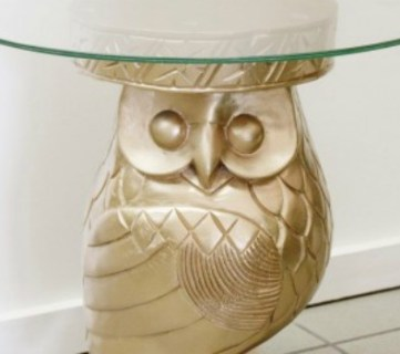 Repurposed Owl Plant Stand Turned Side Table