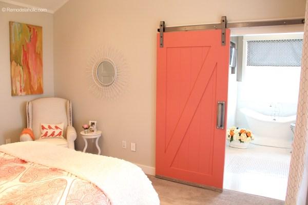 Coral Barn Door to Bathroom in Master Bedroom