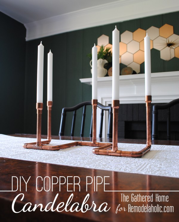DIY Copper Pipe Candelabra by The Gathered Home for Remodelaholic.com. #copper #industrial