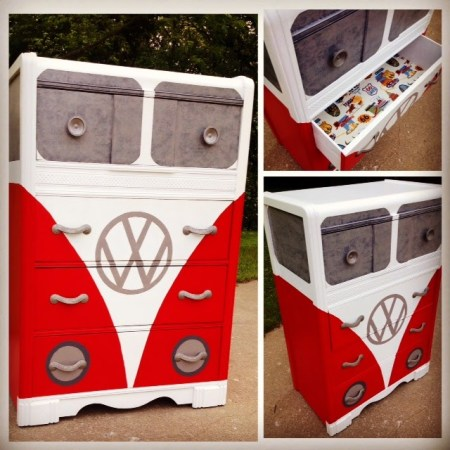 VW bus dresser paint idea for boys room