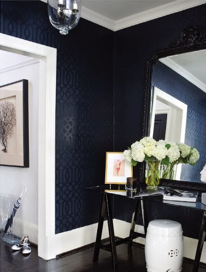 black wallpaper in entry via Remodelaholic.com