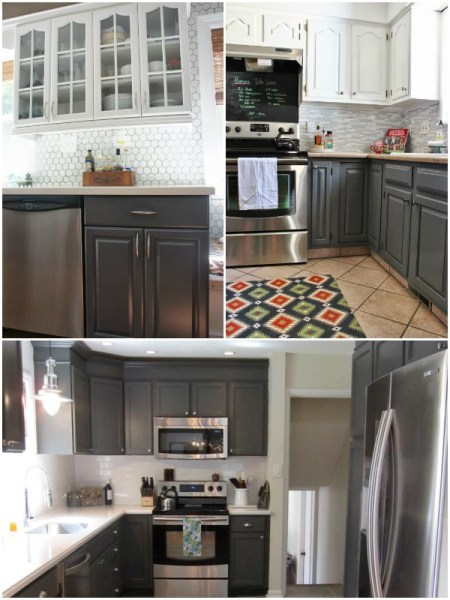 gray painted kitchen cabinets on Remodelaholic