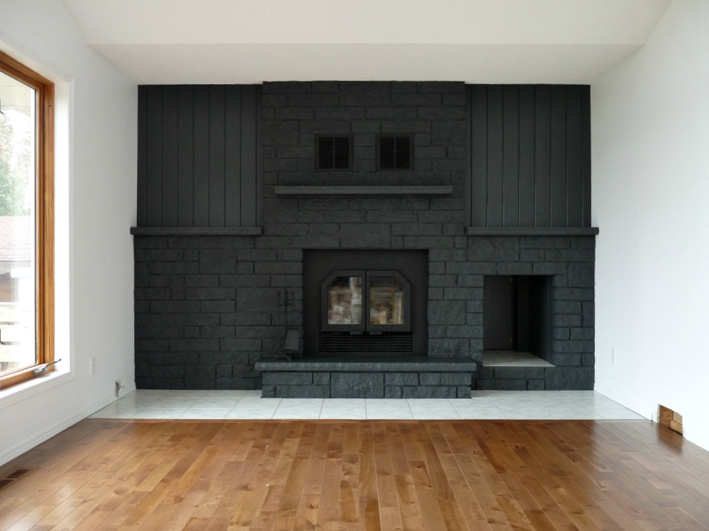 Remodelaholic Dark Gray Painted Fireplace Focal Wall