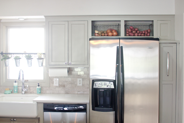 produce bins above the fridge, Ramblings from the Burbs on Remodelaholic