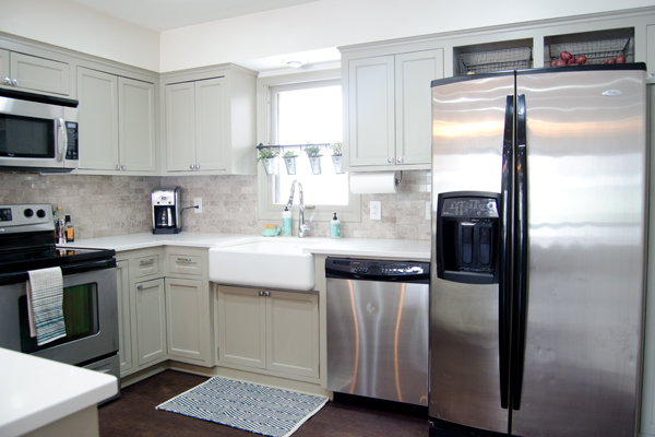 remodeled painted kitchen with refinished wood floor, Ramblings from the Burbs on Remodelaholic