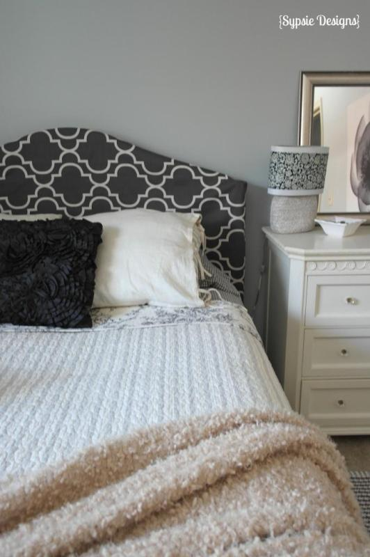 slipcovered metal headboard tutorial, Sypsie Designs on Remodelaholic.com
