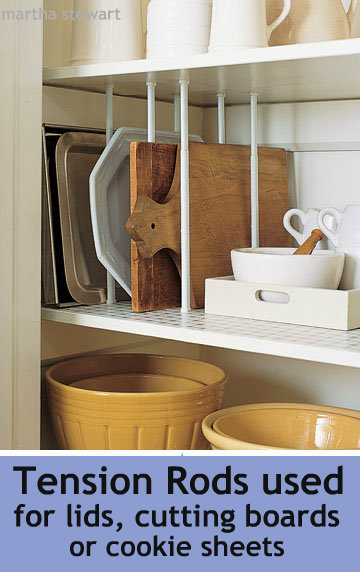 tension rod to hold cutting boards and pan lids