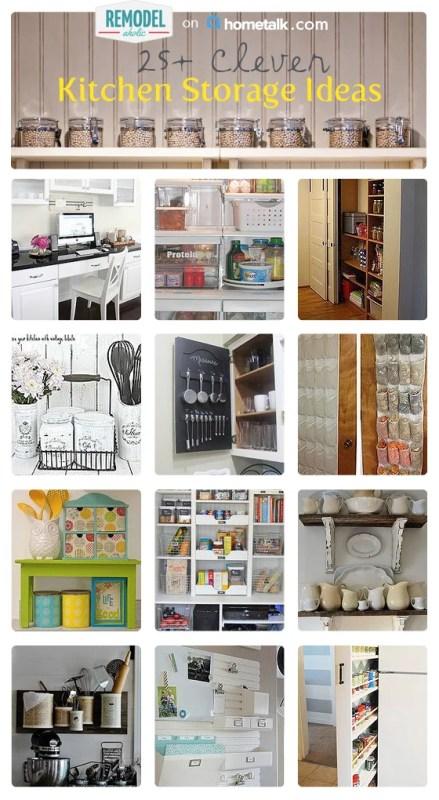 25+ Clever Kitchen Storage Solutions #remodelaholic #organization
