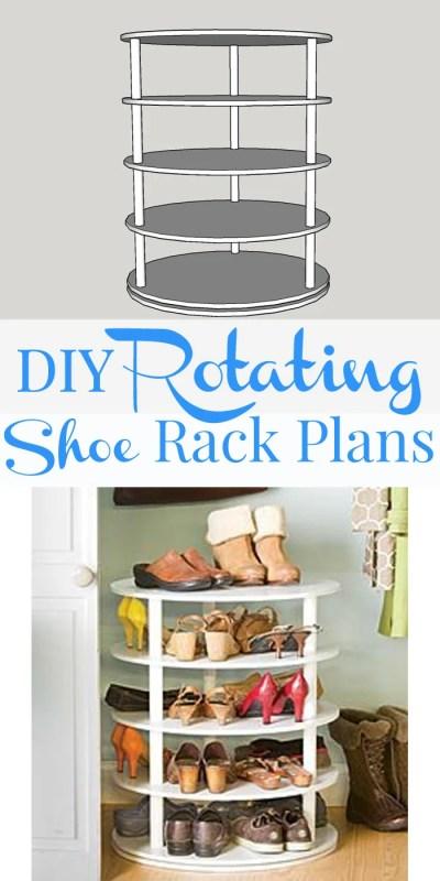 DIY rotating shoe rack - free plans on Remodelaholic.com #organization #DIY