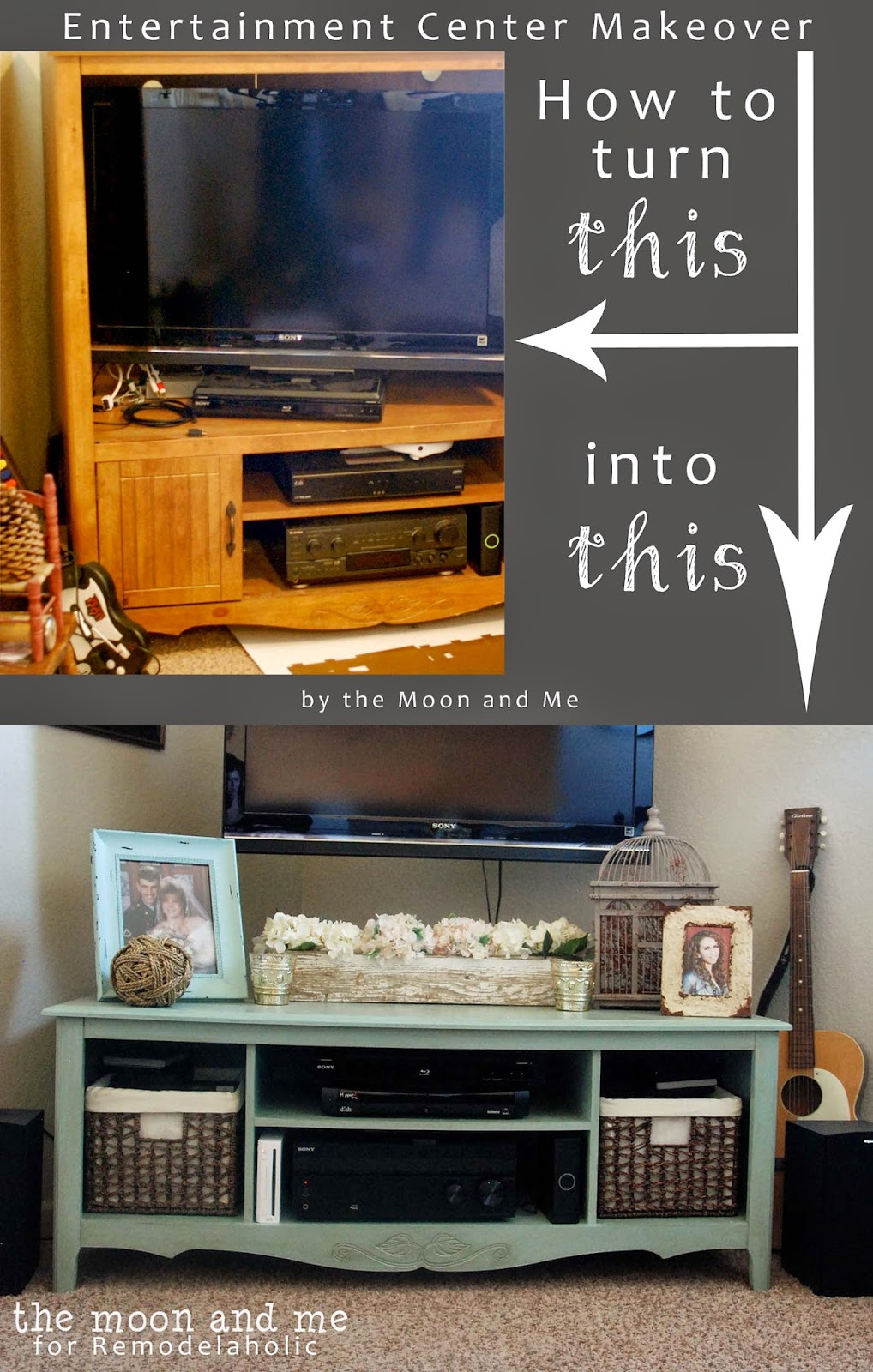 Turn An Old Entertainment Center Into A TV Console Table | The Moon And Me  Featured