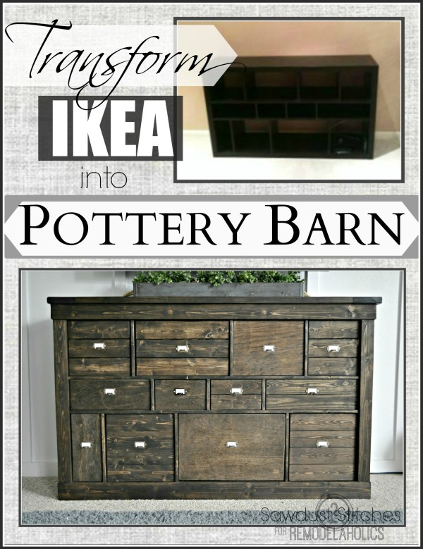 Top Remodelaholic | Transform IKEA cubbies into a Pottery Barn console VM45