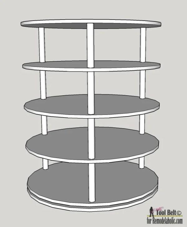 DIY Rotating Shoe Rack Plans on Remodelaholic.com
