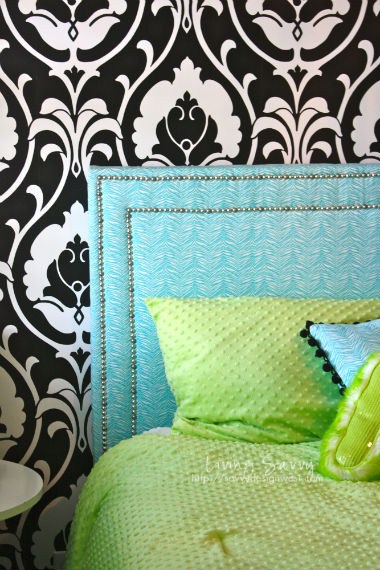 aqua flat rectangle headboard with double row of nailhead trim, Savvy Design West
