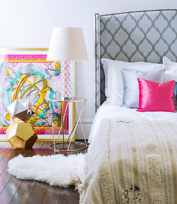 arched patterned wingback headboard with nailhead trim via DecorPad