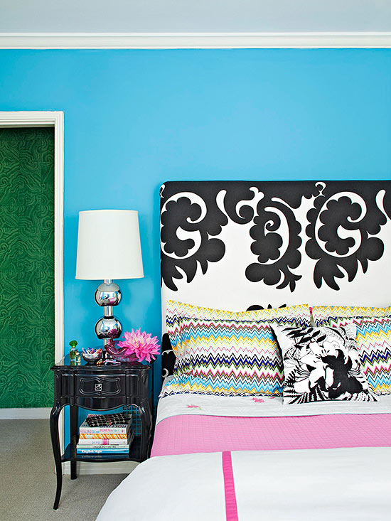 bold patterned rectangle headboard via BHG