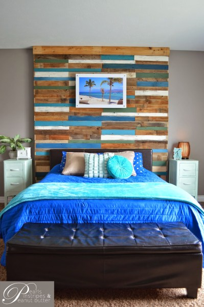 build a colorful plank headboard wall