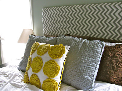 chevron square upholstered headboard via Remodelaholic
