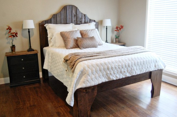 diy rustic wood bed and headboard, The Accent Piece on Remodelaholic