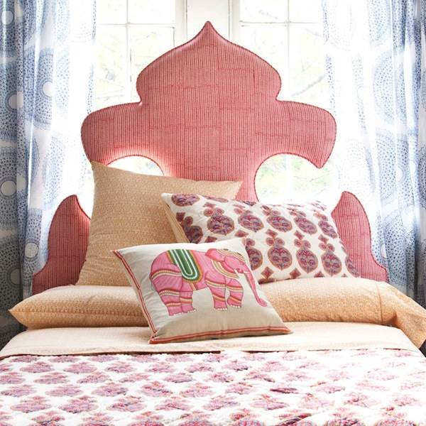 fleur de lis moroccan inspired ornate headboard, John Robshaw via So Haute Style