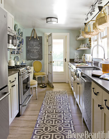 galley kitchen layout in cottage style via House Beautiful