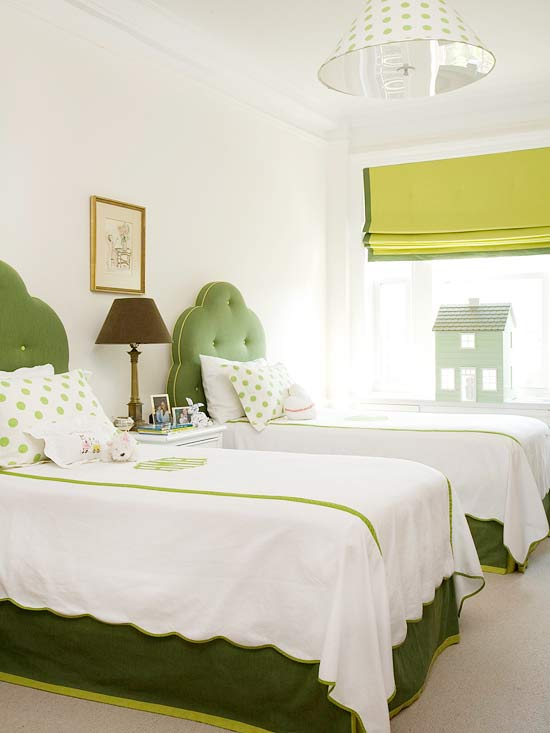 green scalloped circle tufted headboards via BHG