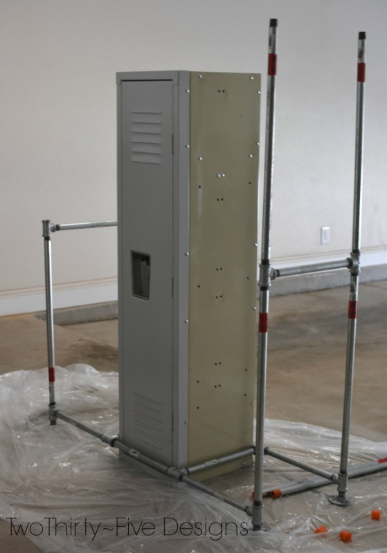 how to build a pipe frame for a mudroom locker system 07, Two Thirty Five Designs on Remodelaholic
