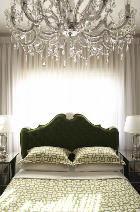 inset keystone tufted headboard in green via DecorPad