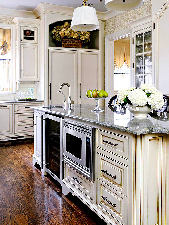 kitchen island with appliances via BHG