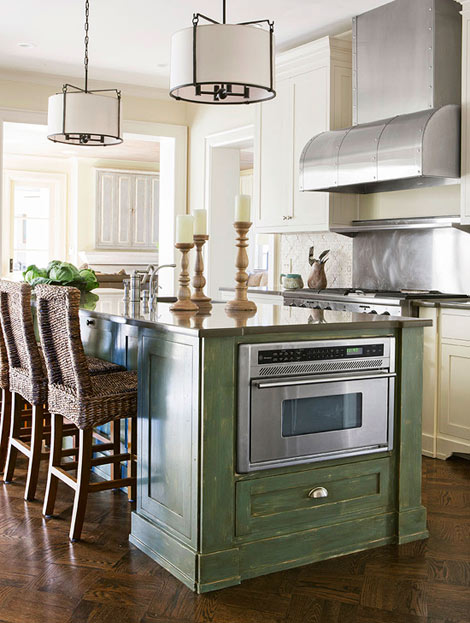 kitchen island with appliances via Home Made in Heaven