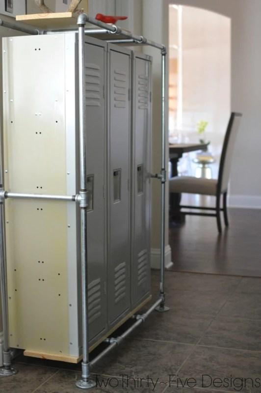 lockers in mudroom, Two Thirty Five Designs on Remodelaholic