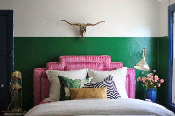pink corduroy stepped headboard, Emily Henderson