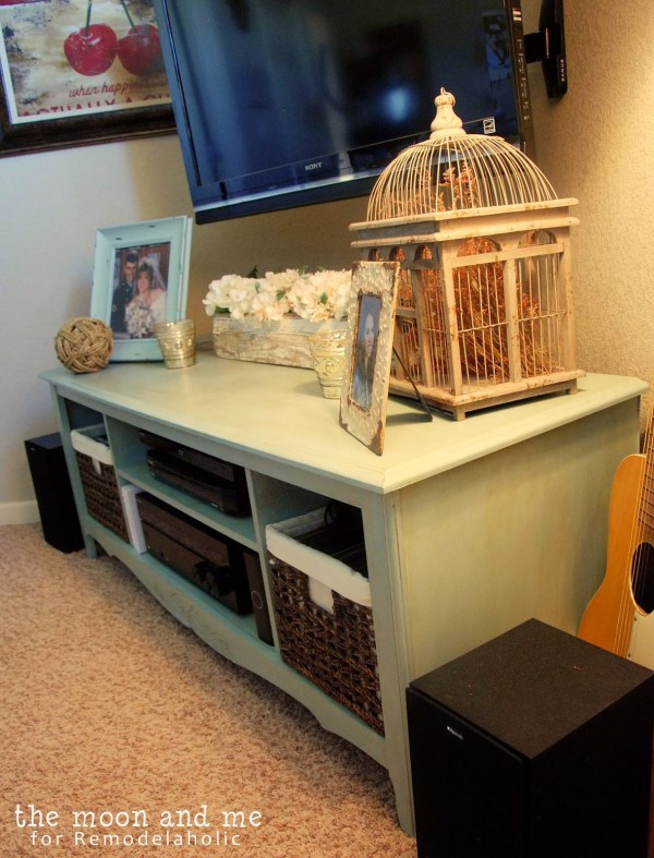 revamp an entertainment center to a flat screen tv console table, The Moon and Me on Remodelaholic
