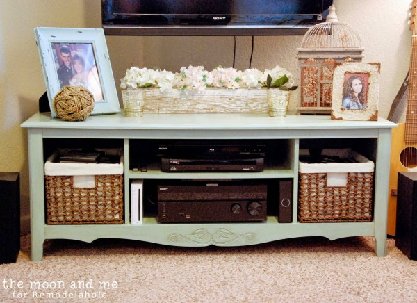 revamped entertainment center is now a flat screen tv console, The Moon and Me on Remodelaholic