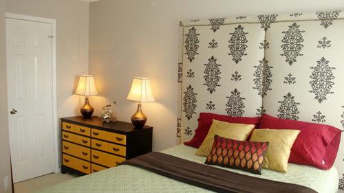 tall upholstered rectangle headboard via Remodelaholic