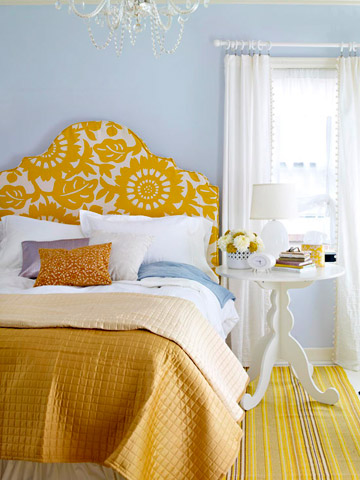 upholstered keystone headboard slipcover tutorial via BHG