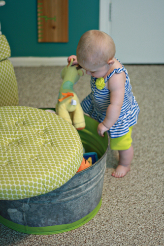 Teal and Lime Nursery with DIY Storage Ottoman