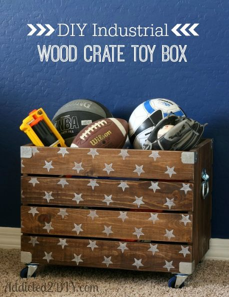DIY Wood Crate Toy Box