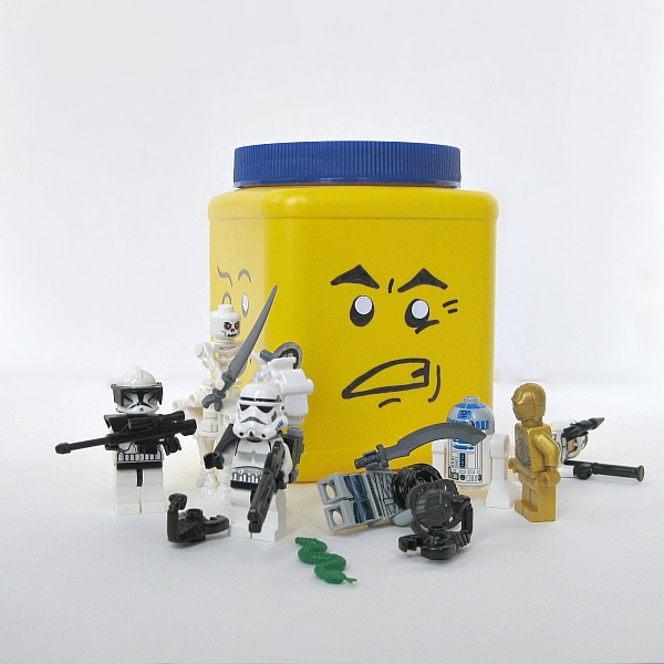 DIY Lego Block Head Storage Can