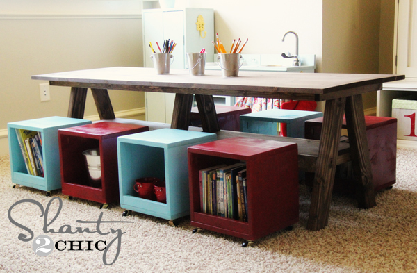 Kids Playroom Table with Storage Stools