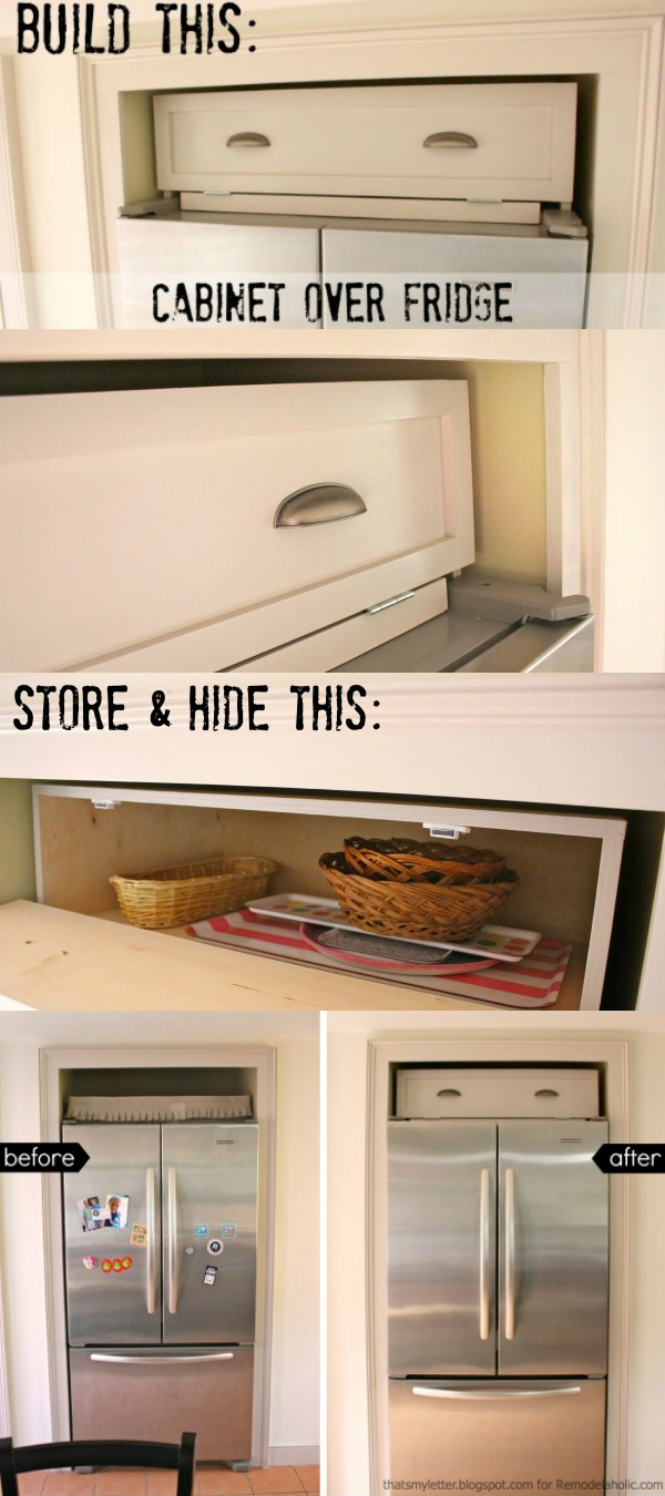 Build an over-the-fridge cabinet! Tutorial from Thatu0027s My Letter for Remodelaholic & Remodelaholic | Build a Cabinet Over the Fridge