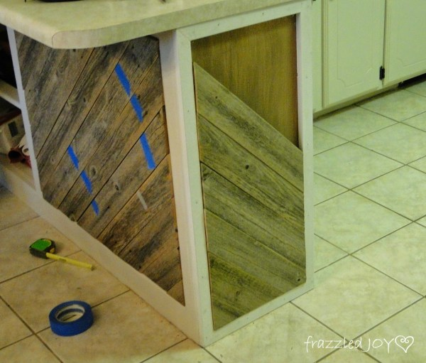 add diagonal planks to a kitchen island, Frazzled Joy on Remodelaholic