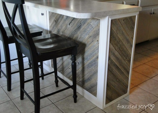 finished reclaimed wood diagonal planked kitchen island, Frazzled Joy on Remodelaholic