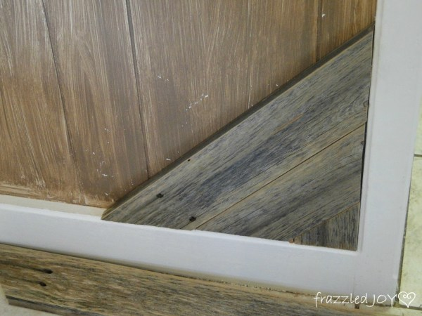 how to add rustic reclaimed wood planks to a kitchen island 04, Frazzled Joy on Remodelaholic