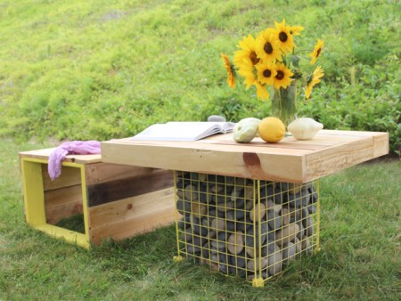 pallet wood gabion table and benches, A Piece of Rainbow