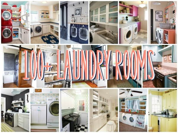 100 Laundry Rooms to gain inspiration and ideas from for your laundry room featured on Remodelaholic.com