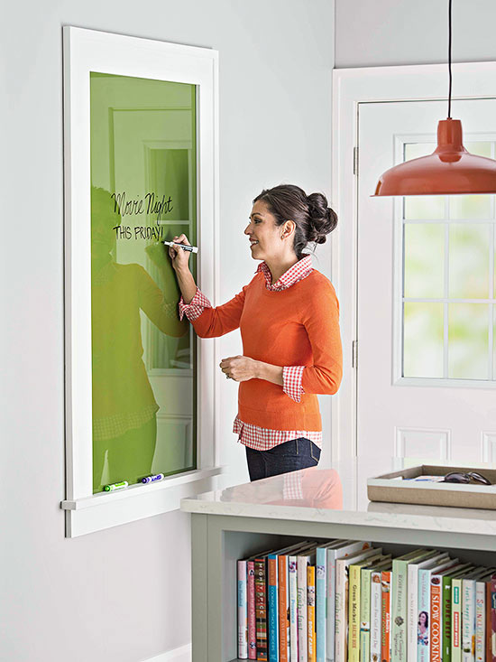 Build a large glass dry erase board -- free plans on Remodelaholic.com #messageboard #organized #buildingplan
