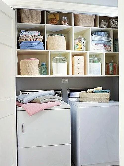 Closet Laundry with pretty storage