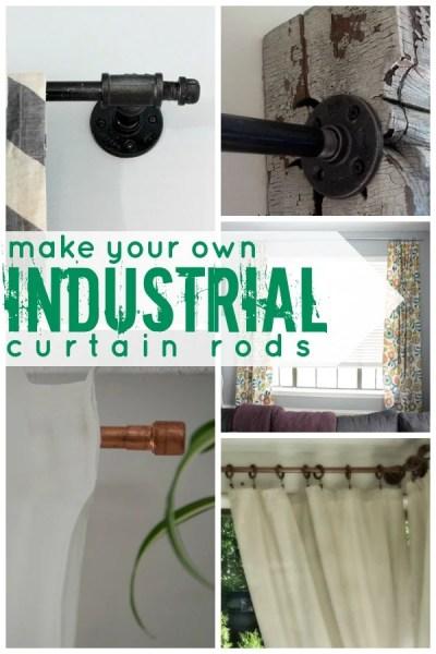 DIY Industrial Curtain Rod Tutorials on Remodelaholic