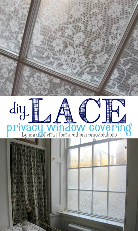 DIY Lace Privacy Window Covering | Annabel Vita on Remodelaholic.com #AllThingsWindows #privacy #lace