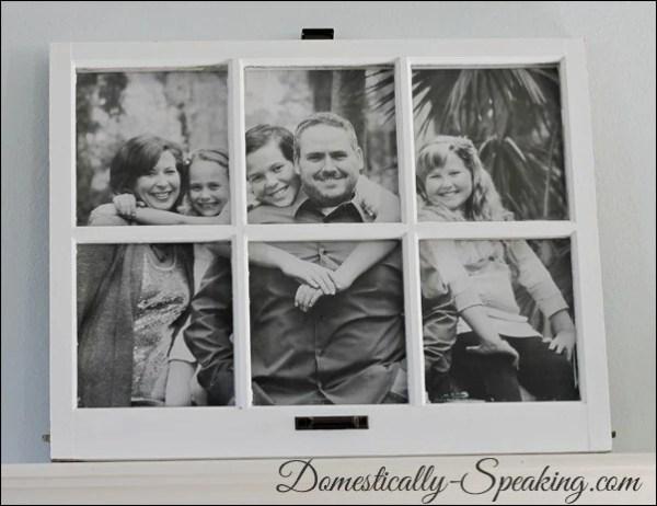 Domestically Speaking - family photo framed in paned window - via Remodelaholic